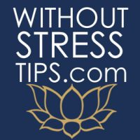 "The image displays the words ""Without Stress Tips"" in white against a blue background along a gold lotus blossom."
