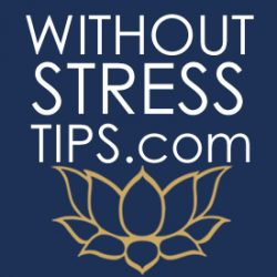 """The image displays the words """"Without Stress Tips"""" in white against a blue background along a gold lotus blossom."""