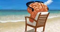 Image of a brain wearing sunglasses sitting in a beach chair on a beach relaxing