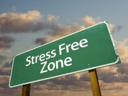 "Image of a highway sign that reads ""Stress Free Zone."""