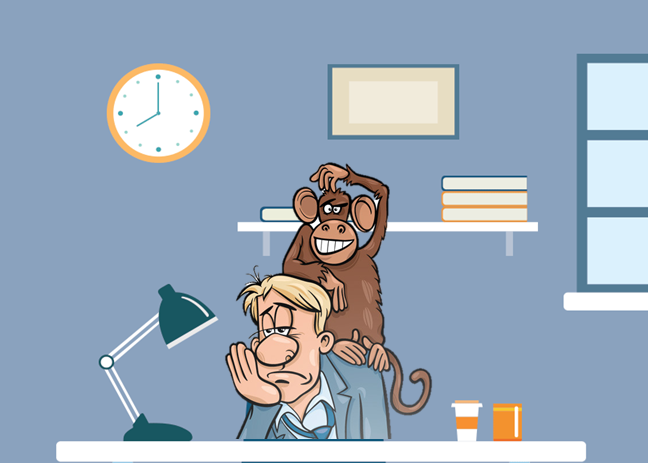 Cartoon image of a man at work with a monkey on his back