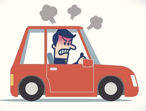Cartoon image of a mad man driving a car.