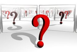 Image of a question mark in front of mirrors. Relieve Stress with Reflective Questions
