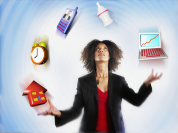 Image of a woman juggling many objects that represent life stressors.
