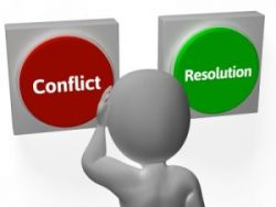 "Image of a cartoon person in front of two buttons. One says ""conflict."" The other says ""resolution."""