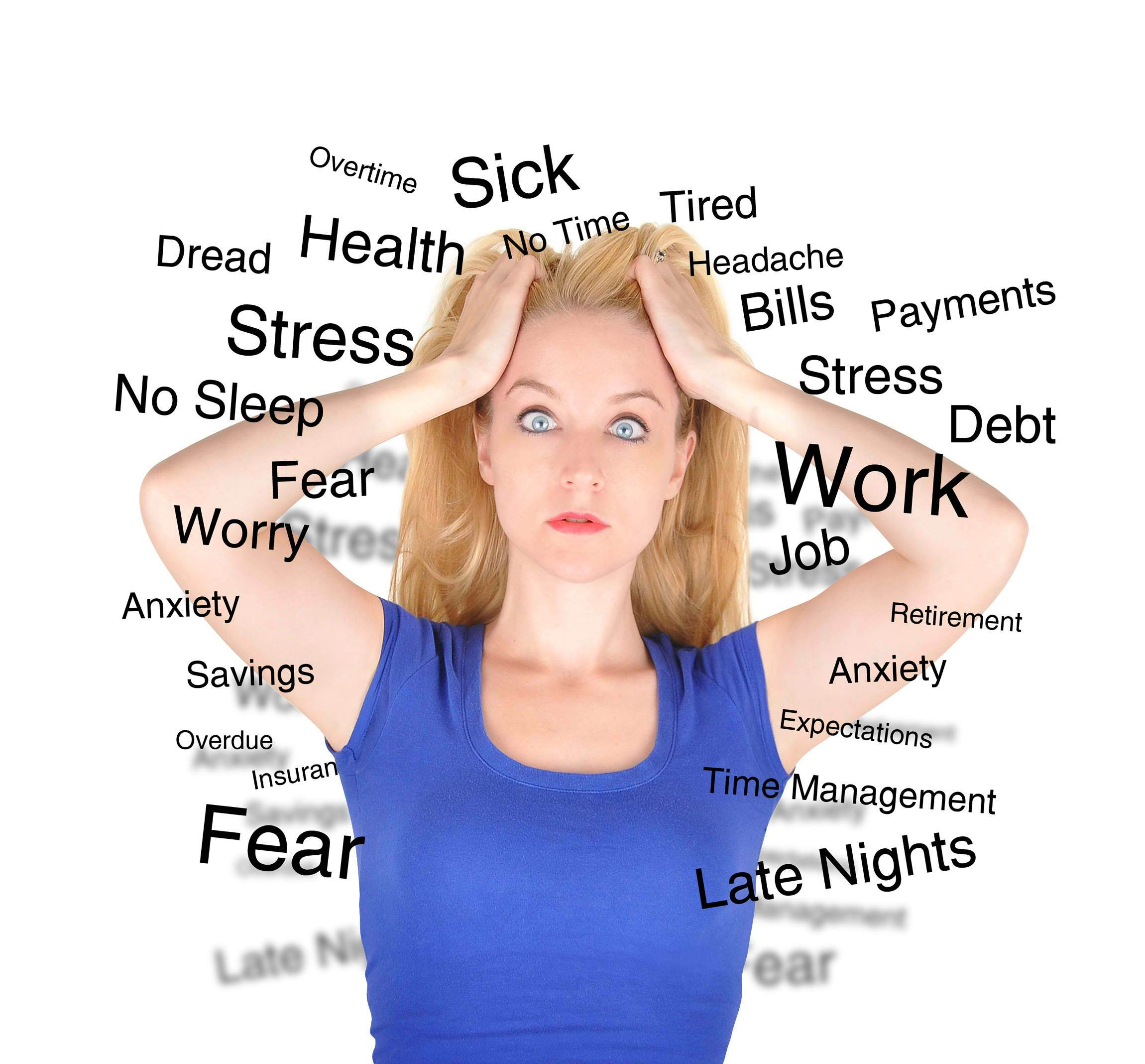 Image of a woman who looks stressed