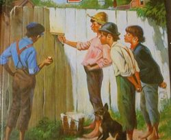 Image of Tom Sawyer and friends whitewashing a fence. Reduce Stress