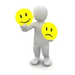 image of a man with emotion symbols