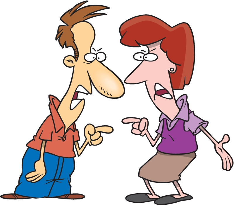 cartoon image of two people arguing